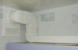 Фото: Использование прямоугольного воздуховода на кухне для обхода углов