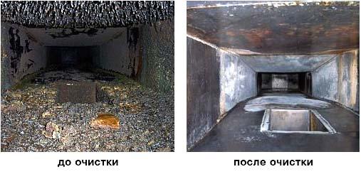Вид вентиляционного канала до профилактических работ и после
