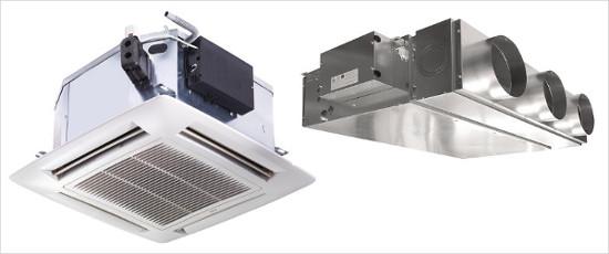 Слева изображен кассетный фанкойл, справа - канальный