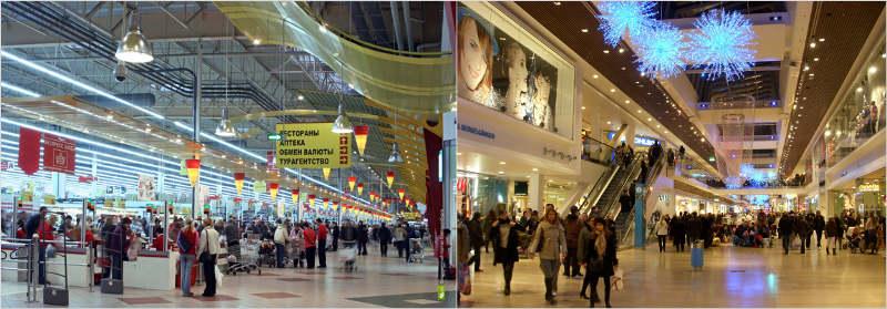 Разница в планировке помещения между магазином-складом и торговым центром