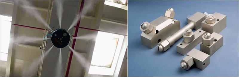 Слева: потолочный атомайзер, справа - распылительные форсунки