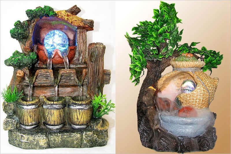 Справа фонтан с водной циркуляцией, слева - генерацией тумана
