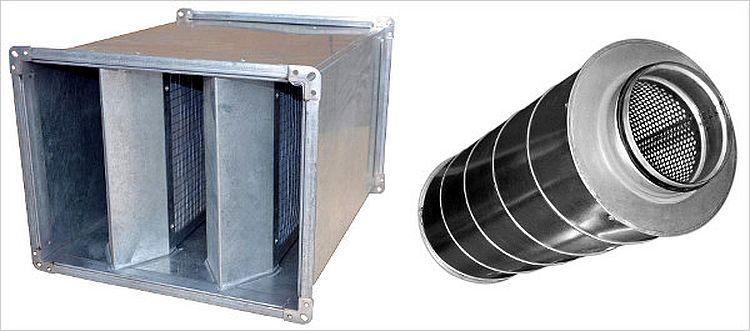Конcтрукция шумоглушителей под определенный тип воздуховодов
