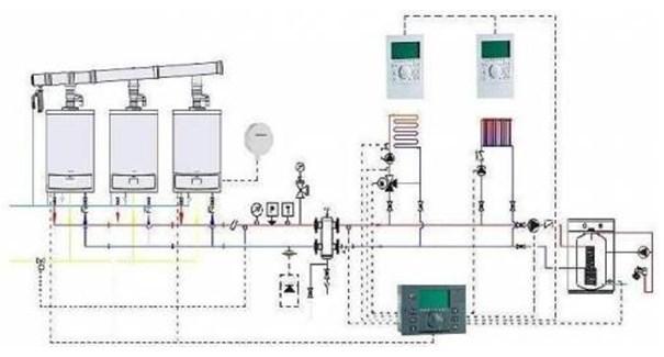 хема обвязки при каскадном подключении котельного оборудования с двумя отопительными контурами