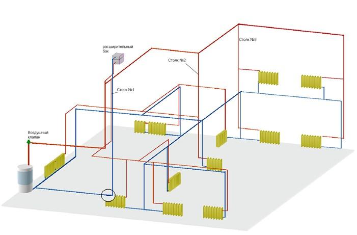 Система с верхней разводкой на два этажа