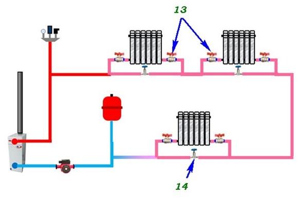 Схема с запорными элементами