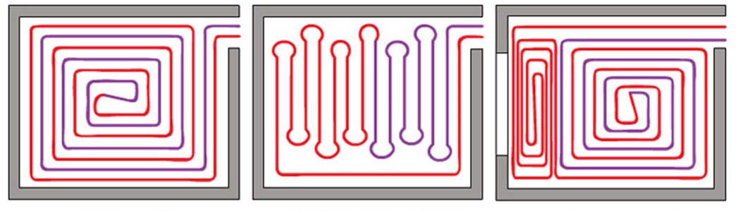 Варианты укладки труб для системы теплого пола