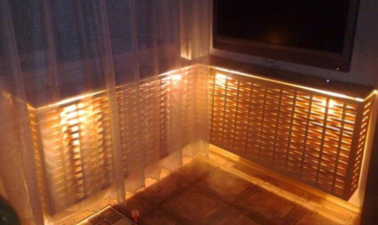 Декоративный деревянный экран для системы отопления