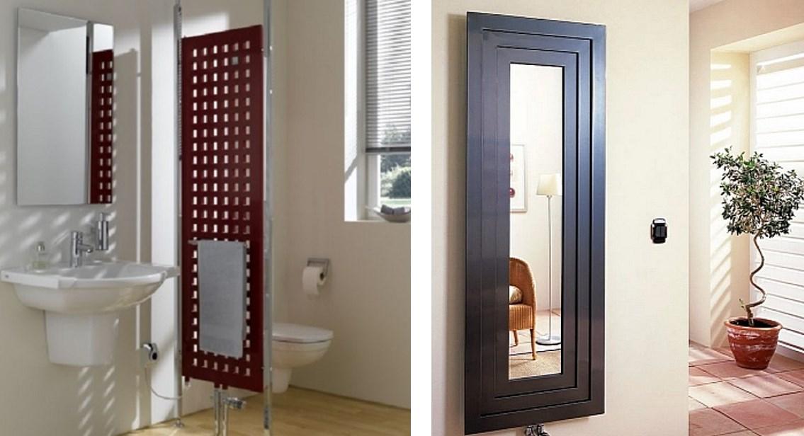 Слева: радиатор в качестве перегородки, справа - зеркала