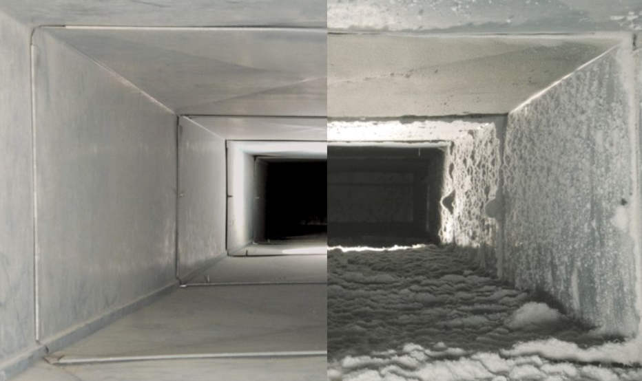 Сравнение вентиляции до и после очистки