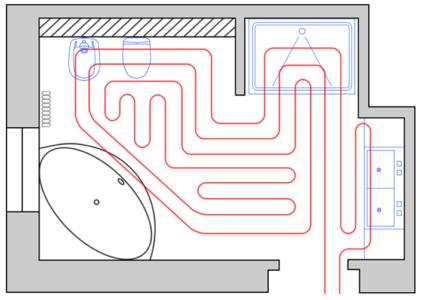 Вариант прокладки коммуникаций, в зависимости от формы помещения